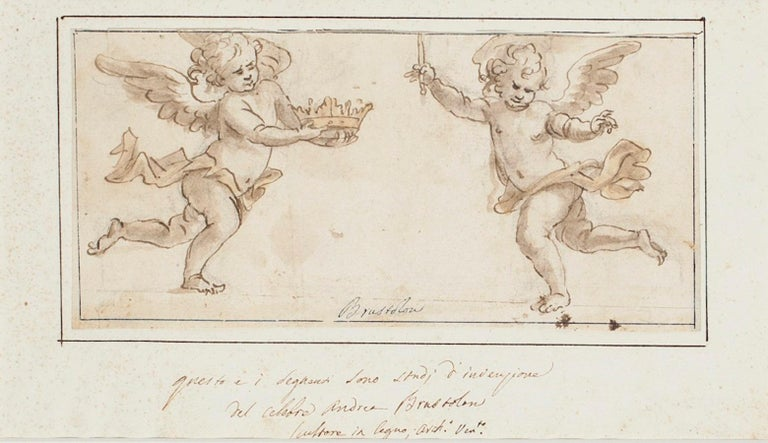 Andrea Brustolon Figurative Art - Two Angels - Original Ink and Watercolor Drawing by A. Brustolon - Early 1700