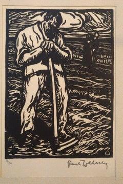 The Farmer - Original Woodcut by Paul Welsch - 1940