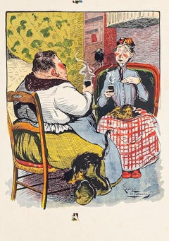 Coffee Time - Original Lithograph by I. de Beauvais - 1900