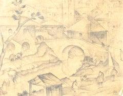 Futurist City - Original Pencil Drawing by C. Borg Pisani - Early 20th Century