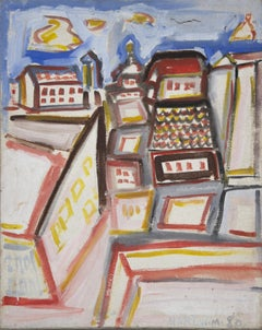 Colored City - Oil on Canvas by Mario Martini 1980