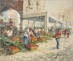 The Market - Oil on Canvas by L. De Mitri - 1980s