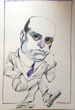 Satyrical Portrait of Benito Mussolini - Pencil and Pastel on Paper - 1975