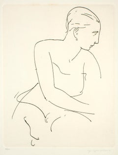 Profile of Woman - Etching and Drypoint by U. Capocchini - 1964