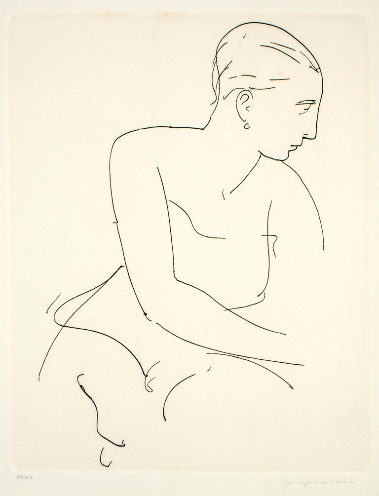 Ugo Capocchini Nude Print - Profile of Woman - Etching and Drypoint by U. Capocchini - 1964
