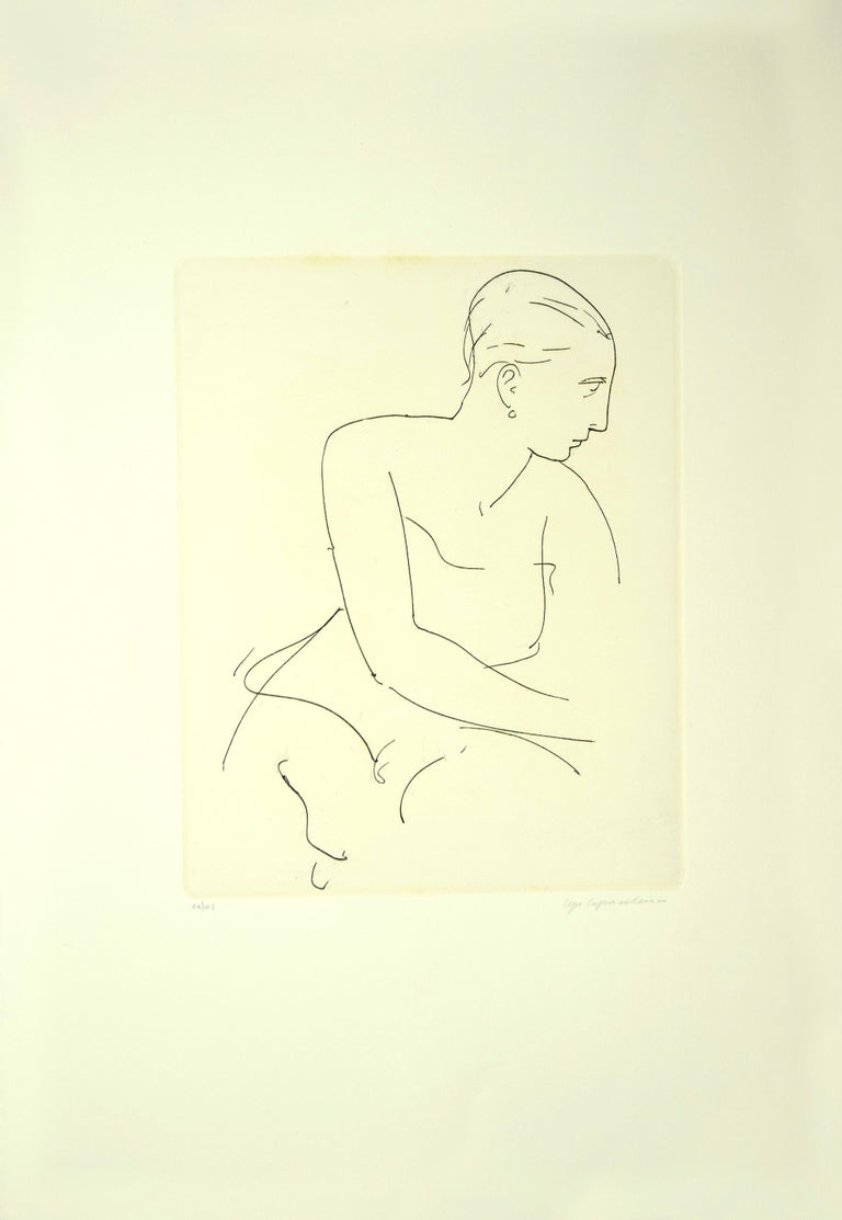 Profile of Woman - Etching and Drypoint by U. Capocchini - 1964 - Print by Ugo Capocchini