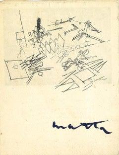 Rare Vintage Exhibition Leaflet - R.S. Matta - Galerie di Dragon - 1958