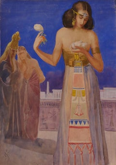 Ancient Egypt - Original Watercolor by E. Loy - Early 20th Century
