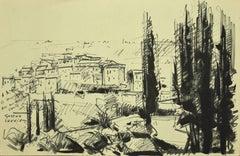 Landscape - Black Marking Pen Drawing by G. Laurieu - 1954