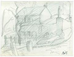 House - Original Pencil Drawing by Claude Bils - 1950s