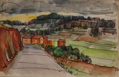 Landscape - Original Ink and Watercolor Drawing by E. Pavarino - 1969