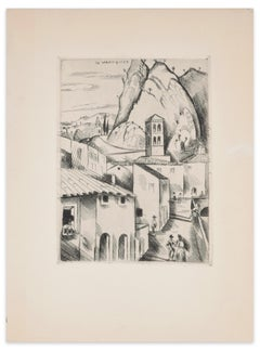 High Provence (Haute Provence) - Original Etching by H. de Waroquier - 1930