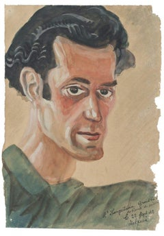 Portrait - Original Watercolor Drawing - Late 20th Century