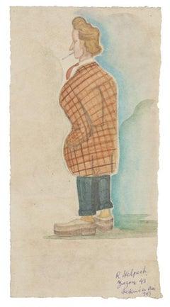 Portrait of Zazon - Original Watercolor Drawing - Late 20th Century