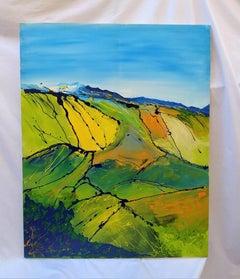 Countryside in Umbria - Original Enamel Painting - 2007