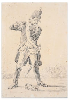 Member of the Military Band - Original Drawing - 19th Century