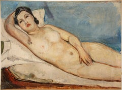 Nude of Woman - Original Oil on Canvas by Donato Frisia - 1930