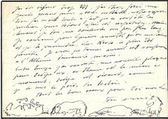 Autograph Letter with Sketch - Original China Ink by Hans Erni - 1938