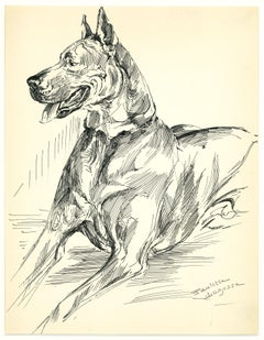 Dog - Original China Ink Drawing by M.-P- Lagosse - Late 20th Century