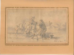 Landscape with Men and Horses - Original China Ink and Watercolor - Early 1800
