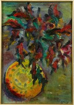 Flower Vase - Oil on Panel - Early 20th Century