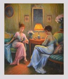 Confidences - Original Pastel on Paper mounted on Canvas attr. to D. Enjorlas