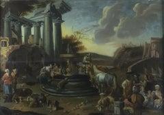 Roman Landscape with Figures - Original Oil on Canvas attr. to D. Helmbreker