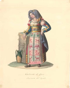 Costume di Lecce - Original Watercolor by M. De Vito - 1820 ca.