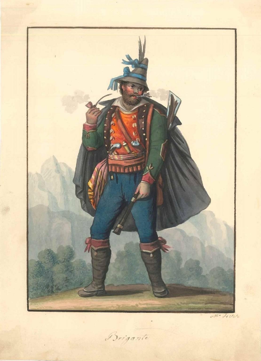 Brigante - Original Watercolor 1820 ca.