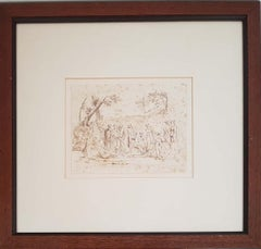 Baptism of Christ - Ink Drawing by Anonymous XIX Century