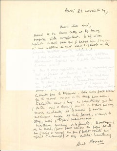 Original Signed Letter by André Masson - 1940s - Surrealism