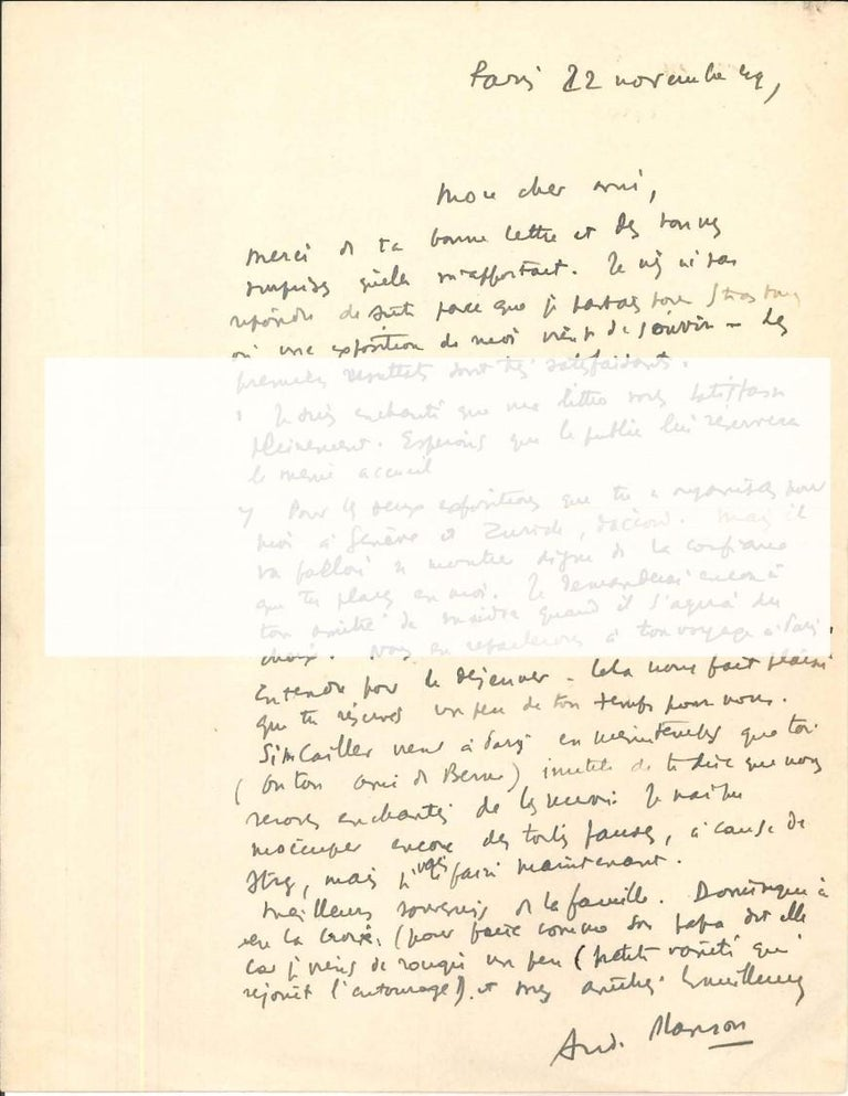 L.A.S. (Lettre Autographe Signée) Autograph Letter Signed by A. Masson to N. Jacometti. Paris, 22nd November 1949. One page. 27 x 20.9 cm. In 8°. In French. Perfect condition, with usual folds of paper and some slight stains of ink on the higher