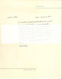 Autograph Letter by Piero Dorazio - 1950s - Contemporary