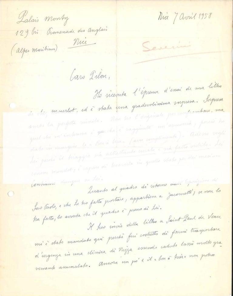 Autograph Letter to Veno Pilon  - 1950s - Gino Severini - Futurist - Art by Gino Severini