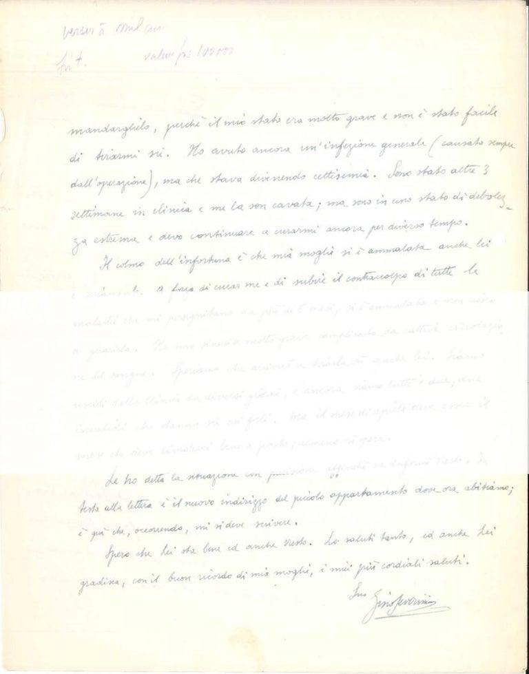 Autograph Letter to Veno Pilon  - 1950s - Gino Severini - Futurist - Modern Art by Gino Severini
