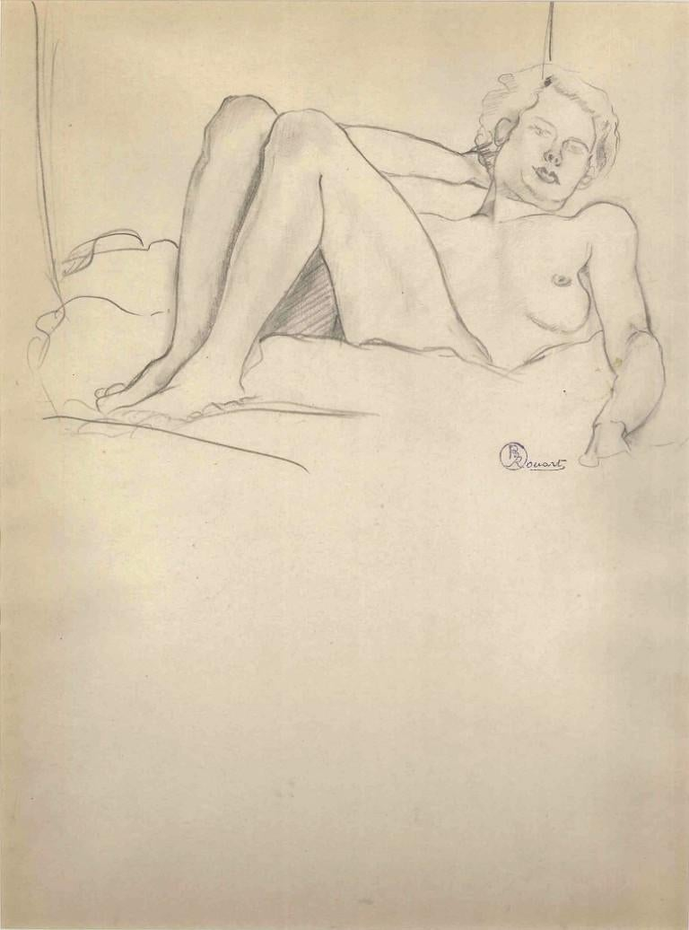 Lying Nude Figure - 1910s - Ernest Rouart - Drawing - Modern - Art by Ernest Rouart