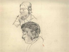 Two Portraits - 1910s - Ernest Rouart - Drawing - Modern