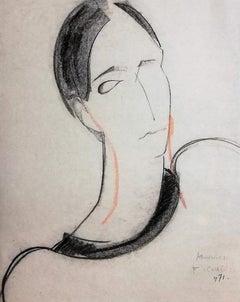 Portrait of Woman - 1970s - François Chapuis - Pastel - Contemporary