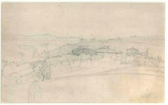Hilly Landscape With Houses and Trees - 19th Century - Nino Costa - Drawing