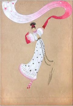 Danseuse à l'Écharpe - 1940s - Erté - Mixed Media - Art Déco