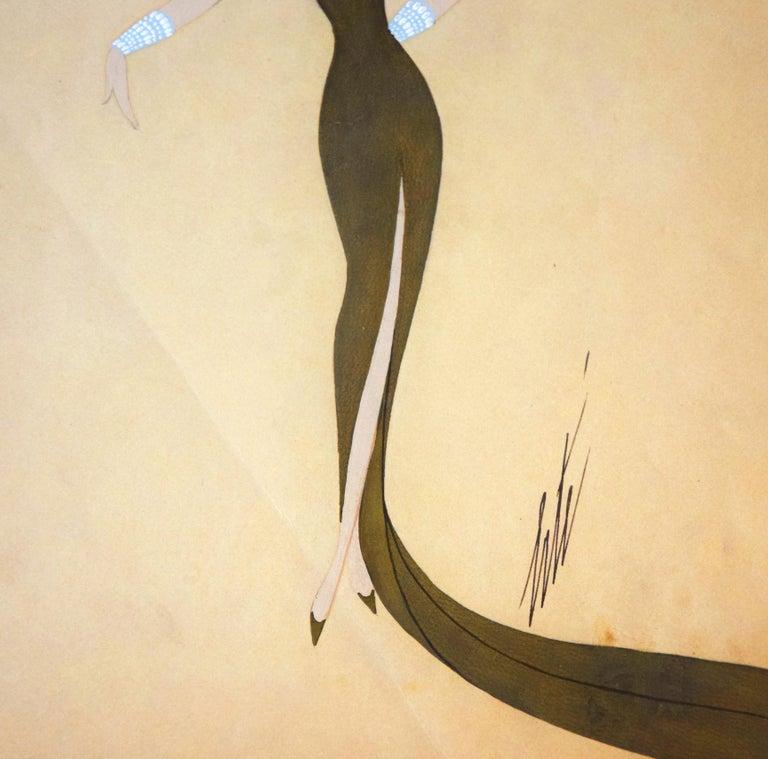Miss Tapsy - 1940s - Erté - Mixed Media - Art Déco For Sale 2