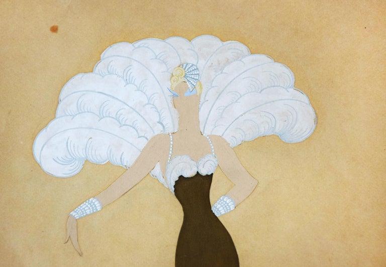 Miss Tapsy - 1940s - Erté - Mixed Media - Art Déco For Sale 3