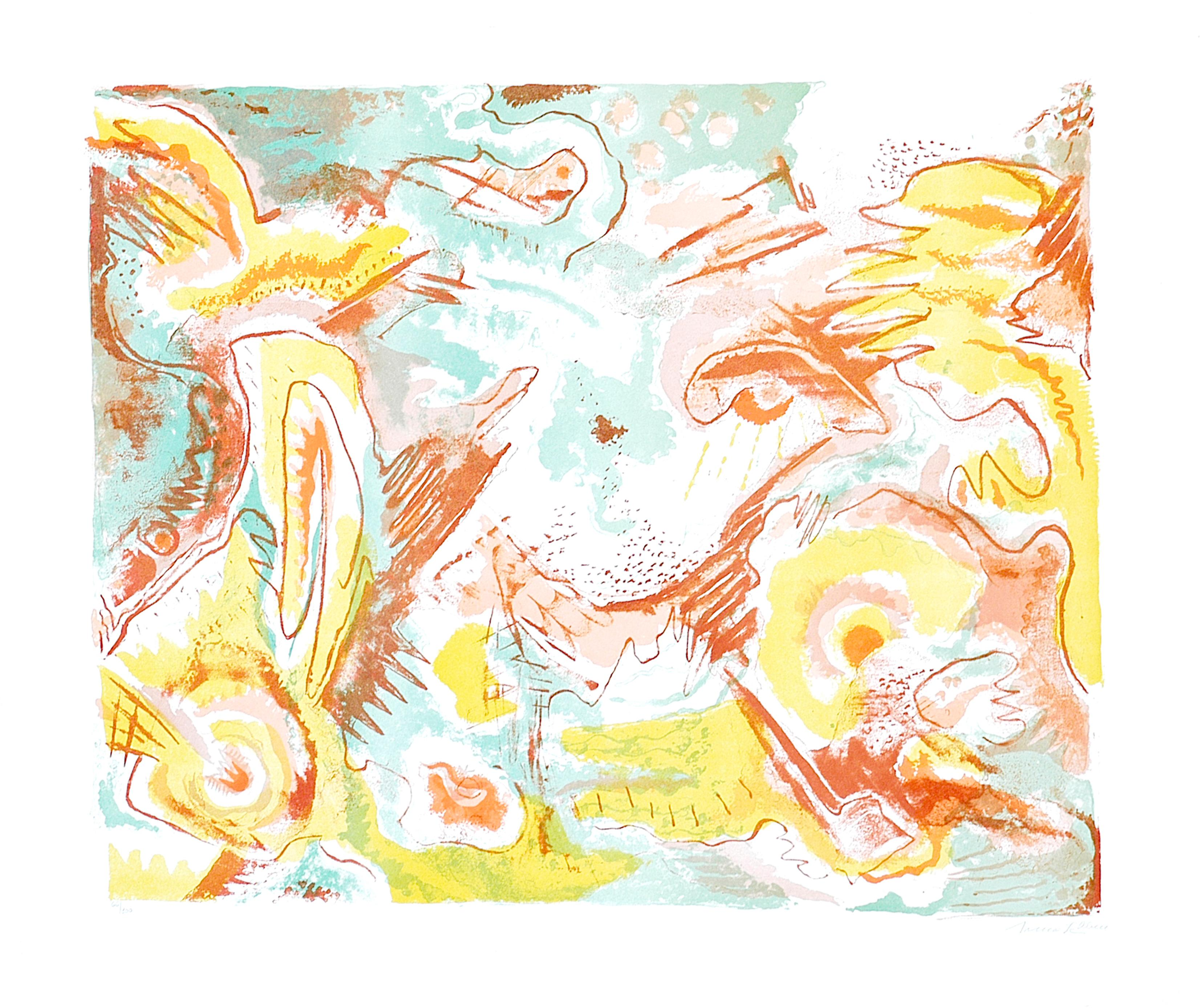 Abstract Landscape - Original Lithograph by Le Oben - 1970 ca.