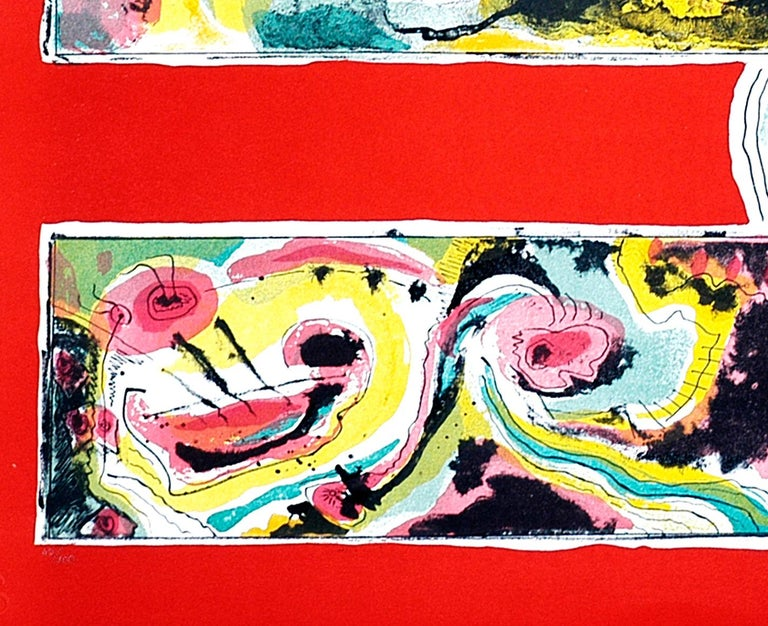 Red Abstract - Original lithograph by Le Oben - 1970 ca. For Sale 4