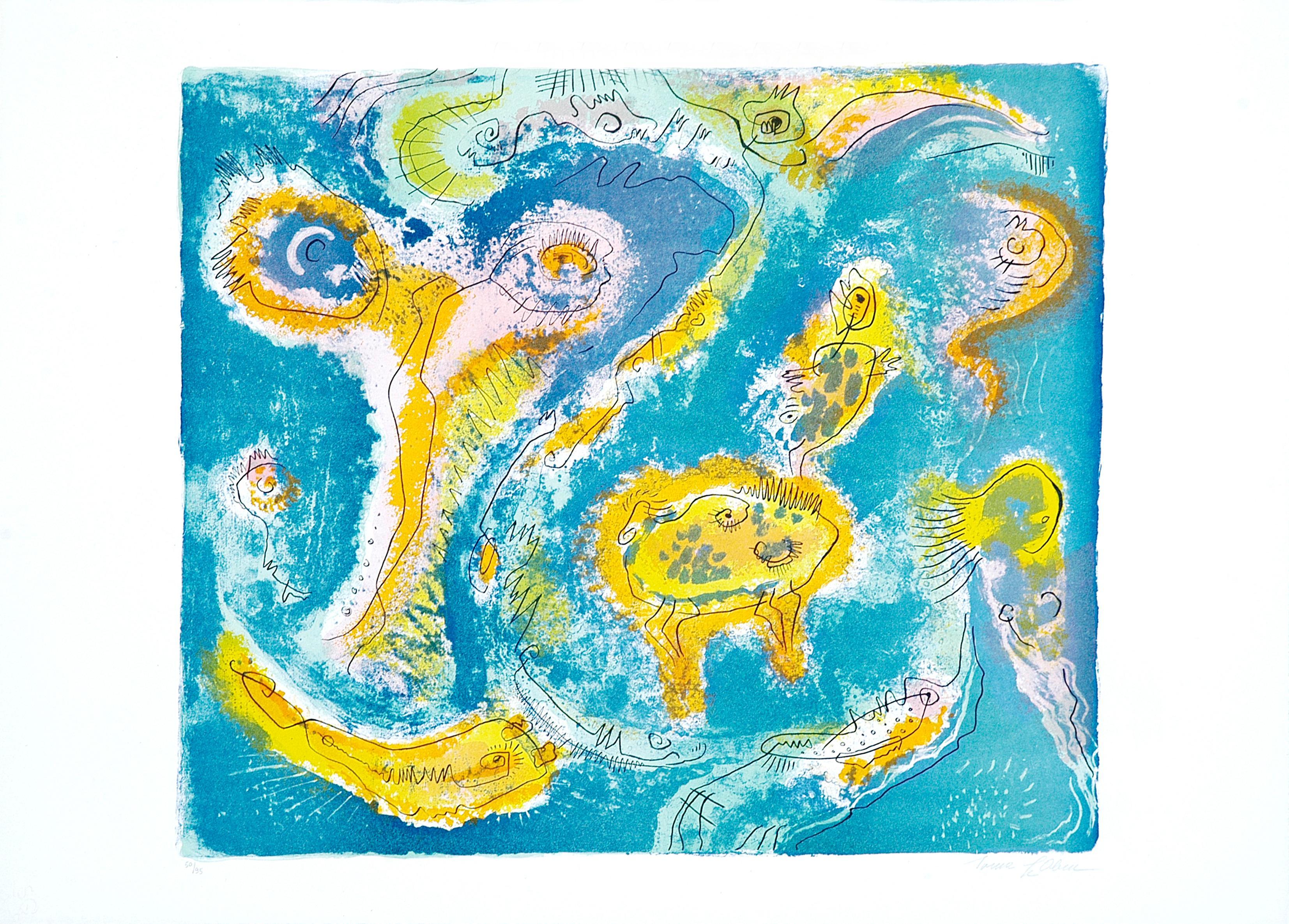 The Pond - Original Lithograph by Le Oben - 1970 ca.