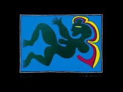 Woman in Blue - Original Screen Print by Fritz Baumgartner - 1970 ca.