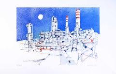 Refinery - Original Color Etching by Giuseppe Megan - 1980