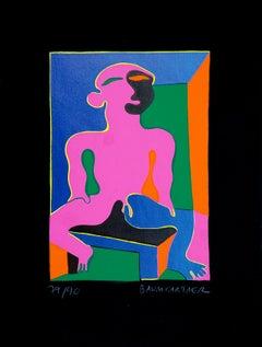 Man in Pink - Original Screen Print by Fritz Baumgartner - 1970 ca.