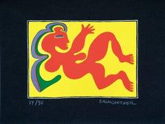 Woman on Yellow - Original Screen Print by Fritz Baumgartner - 1970 ca.