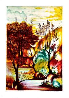 Autumn - Original Lithograph by Orfeo Vitali - 1970 ca.